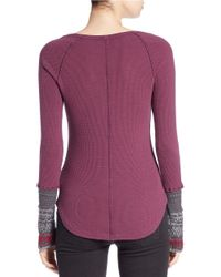 Free People | Purple Newbie Thermal Top | Lyst