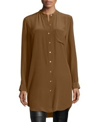 Eileen Fisher | Brown Long-sleeve Silk Tunic/shirt | Lyst