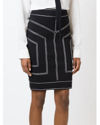 Love Moschino - Black Stitch Detailing Pencil Skirt - Lyst