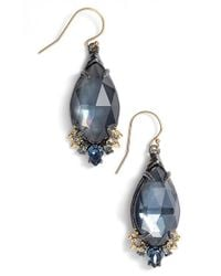 Alexis Bittar | Blue Marquise Drop Earrings - Gunmetal | Lyst