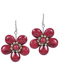 Aeravida | Cute Plain Red Coral Flower Brass .925 Silver Earrings | Lyst
