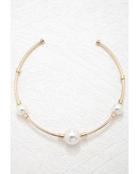 Forever 21 - Metallic Faux Pearl Collar Necklace - Lyst