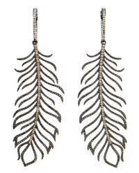 Rosa De La Cruz | Metallic Diamond Feather Earrings | Lyst