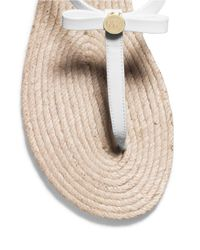 MICHAEL Michael Kors | White Josie Patent Leather Thong Sandals | Lyst