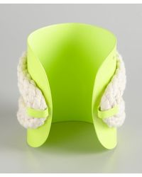 Noir Jewelry | Neon Yellow And Silver Crystal Rope Cuff | Lyst