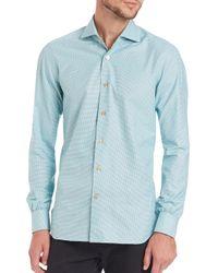 Kiton | Green Mini Houndstooth Check Sportshirt for Men | Lyst