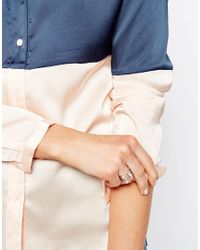ASOS | Metallic Limited Edition Open Pearl & Stone Ring | Lyst