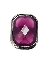 Lipsy - Purple Rectangular Stone Cocktail Ring - Lyst