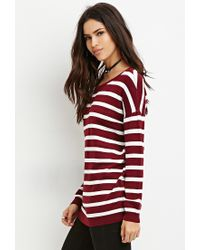 Forever 21 | Purple Striped Drop-sleeve Sweater | Lyst