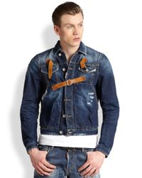 DSquared² - Blue Distressed Denim Jacket for Men - Lyst