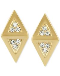 Roman Luxe - Metallic 14K Gold-Plated Diamond-Shaped Crystal Pave Stud Earrings - Lyst