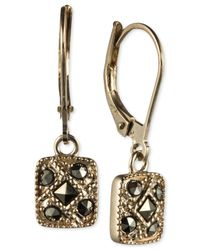 Judith Jack - Metallic 14k Gold-plated Marcasite Square Drop Leverback Earrings - Lyst