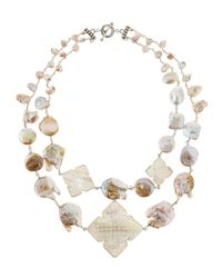 Stephen Dweck | White Two-Strand Carved Pearl Necklace | Lyst