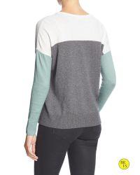 Banana Republic   Blue Factory Colorblock Zipper-seam Sweater   Lyst