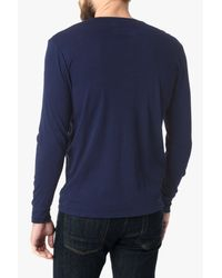 7 For All Mankind | Blue Long Sleeve Henley In Indigo for Men | Lyst