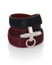 Givenchy | Red Calf Hair & Leather Wrap Bracelet | Lyst