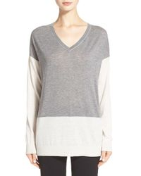 Vince | Gray Easy Fit Colorblock Pullover | Lyst