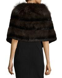 Gorski | Green Rabbit Fur Shawl W/fox Fur Trim | Lyst