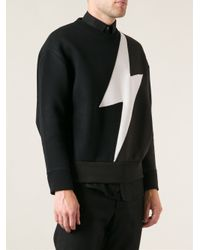 Neil Barrett - Black Lightning Print Sweater for Men - Lyst