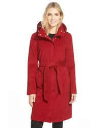 Ellen Tracy Red Belted Long Wool Blend Coat With Detachable Hood