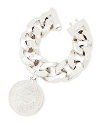 Givenchy - White Silvertone Medallion Bracelet - Lyst