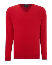 Armani Jeans - Red V Neck Wool Cotton Mix Jumper for Men - Lyst