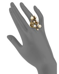 Erickson Beamon - White Stratosphere Crystal & Faux Pearl Statement Ring - Lyst