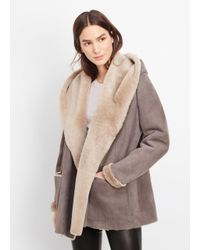 VINCE | Gray Shearling Drape Coat With Hood | Lyst
