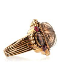 Stephen Dweck - Multicolor Floral Carved Quartz-Garnet Ring - Lyst