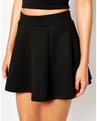 AX Paris - Black Quilted Skater Skirt - Lyst