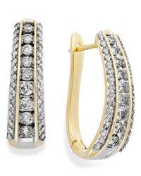 Macy's | Metallic Diamond Channel J-hoop Earrings In 10k White Or Yellow Gold (1 Ct. T.w.) | Lyst