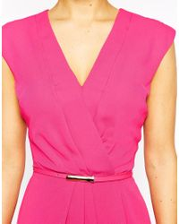 Oasis - Pink Plunge Neck Wrap Dress - Lyst