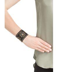 Valentino - Embellished Suede Cuff - Black - Lyst