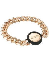 Guess | Pink Link Chain With Logo Disc Closure Bracelet | Lyst
