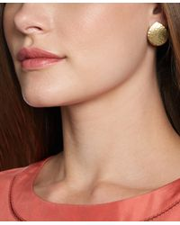 Brooks Brothers - Metallic Gold Hammered Button Earrings - Lyst
