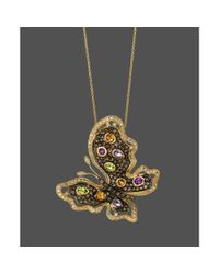 Le Vian | Metallic Diamond 38 Ct Tw and Multistone Butterfly Pendant in 14k Gold | Lyst