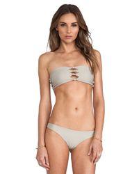 Mikoh Swimwear | Gray Monaco Cutout Knot Bandeau in Taupe | Lyst