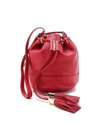 See By Chloé - Red Vicki Grained-leather Mini Bucket Bag - Lyst
