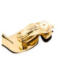 Lanvin - Metallic Serated Clip-on Earrings - Lyst