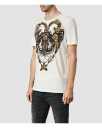 AllSaints | Natural Grateful Crew T-shirt for Men | Lyst