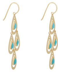 Irene Neuwirth Blue Turquoise Gold Chandelier Earrings