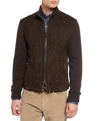 Ermenegildo Zegna | Brown Quilted Suede Jacket With Knit Sleeves for Men | Lyst