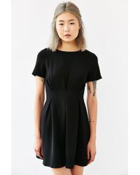 Lucca Couture - Black Pleated Short-sleeve Mini Dress - Lyst