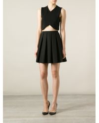 RED Valentino - Black Pleated Skirt - Lyst