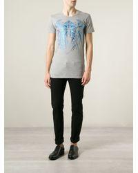 Balmain - Blue Native American Print Slim Fit T-shirt for Men - Lyst