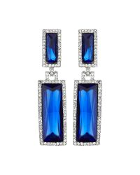 Mikey | Blue Twin Rectangle Design Drop Earring | Lyst