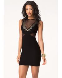 Bebe | Black Studded Plunging V Dress | Lyst