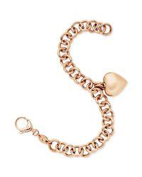 Fossil - Metallic Rose Goldtone Linked Heart Charm Bracelet - Lyst