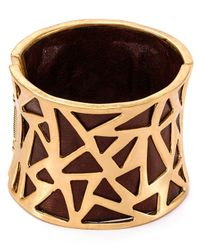 Robert Lee Morris - Metallic Mixed Media Leather Hinged Cuff - Lyst