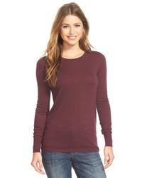 Halogen Purple Button Back Crewneck Sweater